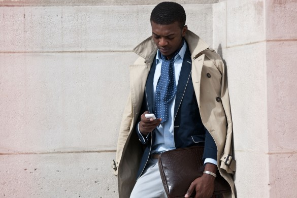suit-trench-coat-mobile-phone