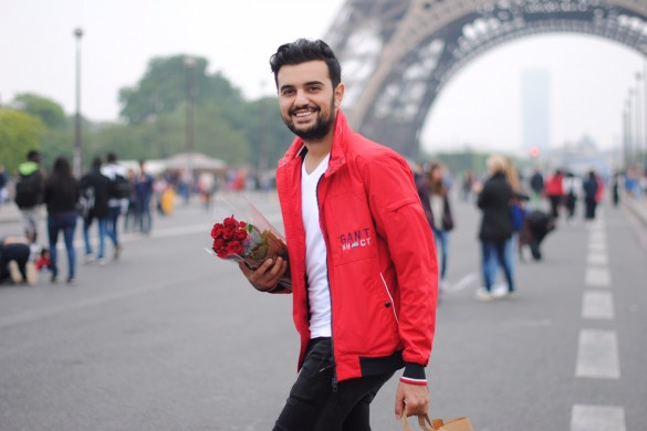 Paris red Jacket flowers
